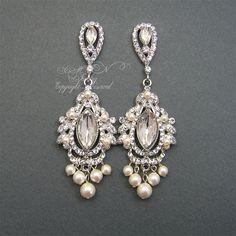 Chandelier Bridal EArrings Rhinestone Pearl Wedding by xinxinemin, $68.00