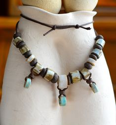 Excited to share the latest addition to my #etsy shop: Girl, Ethnic, Ceramic, Bead Necklace, 3 pendants, jewelry, turquoise, shell white, dark brown, adjustable, brown waxed cotton cord http://etsy.me/2ChnNnf #jewelry #necklace #beige #woman #men #ceramic #boho