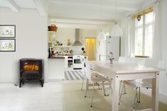 Grandma's stove in this contemporary kitchen. Cosy in a modern way. ©Dovre