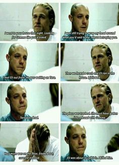 The acting of Charlie Humann and Theo Rossi was amazing in the scence. Gave me chills.