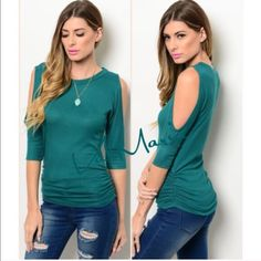 ❗️ LAST LG- Teal Ribbed & Ruched Cold Shoulder Top Gorgeous Teal Ribbed & Rouched sides top. Features beautiful open shoulder design. Material is so soft and fits true to size. Only have limited quantities so get them now. Hottest color of the season. Price is firm unless bundled. You may purchase this listing as I've made individual ones for each size. Check the size of this listing please.  Country: USA Fabric Content: 67% POLYESTER 29% RAYON 4% SPANDEX Size Scale: S-M-L fits 2-4, 6-8…