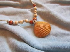 Sea Shell Necklace with Orange Shell Hemp Cording by FruFruDesign, $13.00