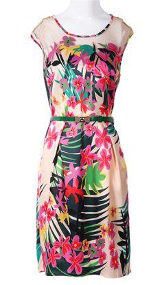 Beige Sleeveless Floral Bow Belt Silk Dress