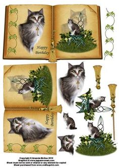 Mystical cat book sheet on Craftsuprint designed by Amanda McGee - A stunning book sheet featuring gorgeous cat images and additional embelishments - Now available for download!