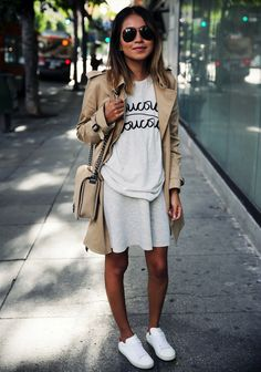 SINCERELY JULES 'cou cou' tee // ARITZIA Babaton 'oliver' trench coat // MADEWELL sweatshirt dress (worn as a skirt) // SAINT LAURENT court classic sneakers