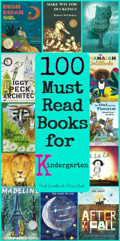 100 Must Read Books for Kindergarten. Plus FREE printable book list for the library and flower and paw print book recording sheets.