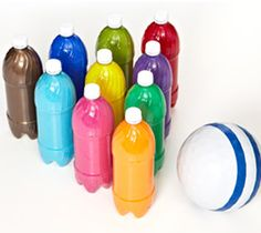 Gift for KIDS or make for a party to keep them entertained: Bowling the Rainbow ~ paint the inside of soda bottles Activities For Kids, Crafts For Kids, Outside Games, Bowling Pins, Rainbow Painting, Pop Bottles, Water Bottles, Boredom Busters, Paint Drying