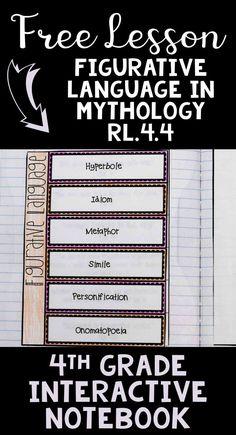 FREE Figurative Language | Mythology | 4th Grade Common Core Interactive Notebook Lesson | ELA Interactive Notebook