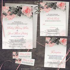 Blush pink, grey vintage rose illustration wedding invitation set. Perfect for a winter, spring, or summer wedding.