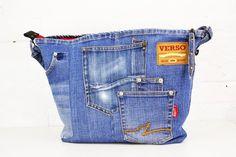 Denim Shoulder Bag - Women's Bag - Upcycled Denim - Jeans Bag - Denim Tote - Upcycled Tote Bag - Zippered Purse - Recycled Jean Purse