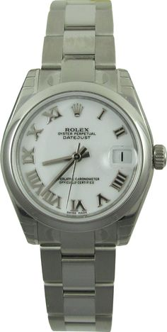 E.D. Marshall Jewelers pre owned Men's Rolex Datejust. Reference Number: 178240. Automatic movement. Functions include: Hours, Minutes, Seconds & Date at 3. Case Material is stainless steel, with a 36mm Diameter. Smooth, Fixed Bezel, white dial & stainless steel Roman markers. The stainless steel Oyster bracelet has a Deployment clasp. This watch is water resistant up to 100 meters, has Sapphire crystal, and is Swiss made.