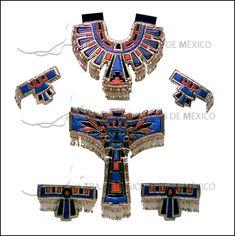 Traje de azteca o conchero en tela metálica color azul con naranja .....