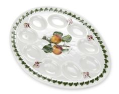 """Portmeirion Pomona Devilled Egg Plate by Portmeirion. $32.09. Devilled Egg Plate is 12.0"""" diameter. Highest Quality Porcelain Body. Dishwasher and Microwave Safe. Pomona was the Goddess of fruit and was thus the perfect name for Susan Williams-Ellis' second best-selling pattern for Portmeirion. The assortment of rich fruits adorn a large aray of items for your table and home.. Save 14%!"""