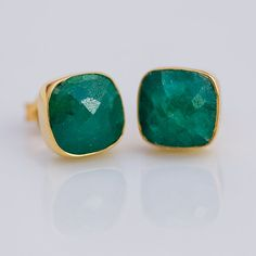 Holiday Sale  Stud Earrings  Cushion Emerald Stud Post by delezhen, $72.00
