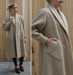 Lovely Fuzzy Oversized Brown Vintage 60's Open Swing Coat with Slanted Pockets | Medium/Large by AnimalHeadVintage on Etsy