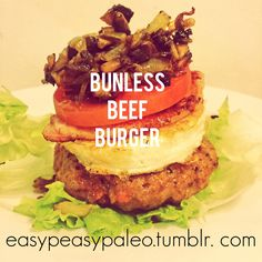 Bunless Beef Burger For this, you will need a batch of burger mince. You can use pure beef mince (grass fed of course), grate in a litt. Healthy Food, Healthy Recipes, Grass Fed Beef, Easy Peasy, Salmon Burgers, Beef Recipes, Hamburger, Carrots, Paleo