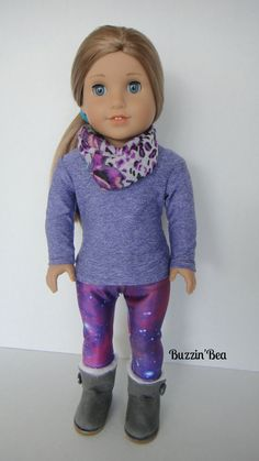 Cute outfit made using the LJ T-shirt Variations Pattern and the LJ Leggings pattern! Purple Galaxy - by BuzzinBea on Etsy