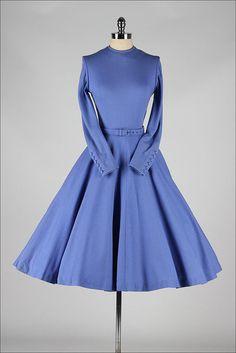 vintage 1950s dress . periwinkle wool . by millstreetvintage