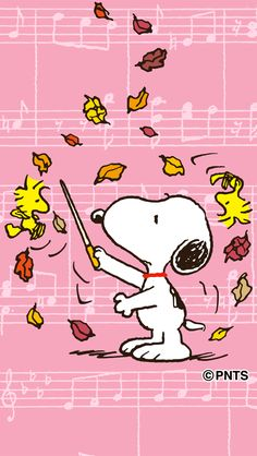 Snoopy Conducting Fall Leaves as They Fall With Woodstock and Friend Flying Nearby
