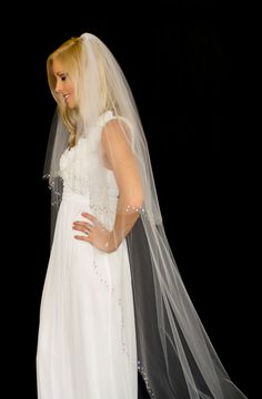 Wedding Veil with Crystal Edge, 2 Tier Chapel Length Bridal Veil (90 inches), Over 1200 Crystals, White or Ivory, Style 1020, Made to Order.