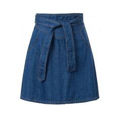 Denim Blue Jeans High Waist A Line Mini Skirt Dress ($28) ❤ liked on Polyvore featuring skirts