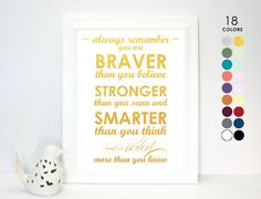 Gold Poster Always remember you are braver than you believe stronger than you seem smarter than you think loved more than Winnie the Pooh