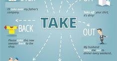 PHRASAL VERBS   (TAKE-LOOK-GIVE-GET-COME) Grammar Help, Teaching English Grammar, English Writing Skills, English Vocabulary Words, Learn English Words, English Language Learning, English Study, English Lessons, English Prepositions