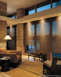 Modern Window Treatments, Window Treatments Living Room, Living Room Windows, Living Rooms, Hunter Douglas, Douglas Lake, Curtains With Blinds, Blinds For Windows, Window Blinds