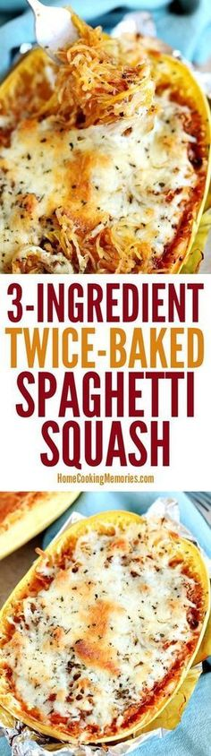 This Twice-Baked Spaghetti Squash recipe is an easy dinner idea that only needs spaghetti squash, mozzarella cheese, and your favorite pasta sauce. dinner spaghetti squash Easy Twice-Baked Spaghetti Squash Veggie Recipes, Low Carb Recipes, Vegetarian Recipes, Cooking Recipes, Healthy Recipes, Delicious Recipes, Vegetarian Spaghetti Squash Recipes, Spaghetti Recipes, Paleo Pasta