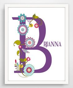 Look what I found on #zulily! Purple Floral Letter Personalized Print #zulilyfinds