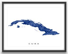 Cuba map print with a white street network design.          Map art print includes the cites and beautiful beach resorts of Havana, Varadero, Trinidad, Cienfuegos and Vinales. #cuba #map