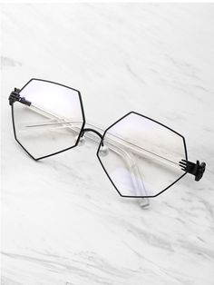 Shop Palm Detail Polygon Glasses With Clear Lens online. SheIn offers Palm  Detail Polygon Glasses 788a2a622d