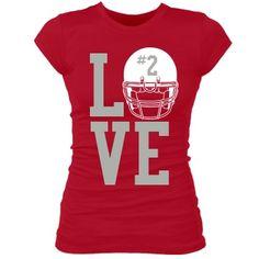 Football Girlfriend Love Love Football w/ Helmet: Custom Junior Fit Bella Sheer Longer Length Rib T-Shirt - Customized Girl Football Cheer, Custom Football, Football Outfits, Football Stuff, Baseball, Football Season, Football Banquet, Football Spirit, Football Moms