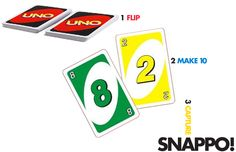 """""""Snappo""""a 2 player game that reinforces 10  1. Divide uno cards (numbers only: 0-10) evenly among players.   2. Players lay their cards face down in a pile.  3. Player one flips top card over and lays it on the table.  4. Player two flips his card over. If he can make 10, he captures both cards and says """"snappo!"""" If he can't, he lays his card face up on the table.  5. Players keep taking turns, flipping cards, trying to make 10. They can use the cards on the table or cards"""