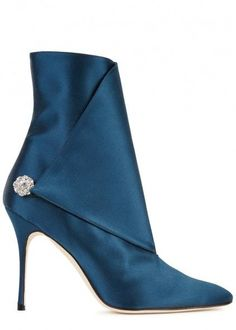 Diazhigri teal satin ankle boots