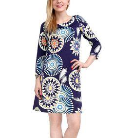 Look what I found on #zulily! Navy & Emerald Shift Dress - Women #zulilyfinds