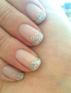 Wedding Nails with Gold Glitter instead
