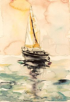 Sailboat Painting by Kovacs Anna Brigitta Sailboat Art, Sailboat Painting, Sailboats, Watercolor Ocean, Watercolour Painting, Watercolors, Watercolor Tattoo, Large Abstract Wall Art, Canvas Wall Art