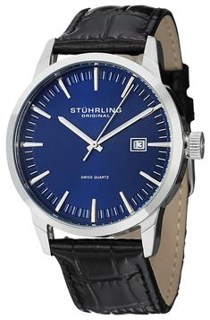 9e085436520 Stuhrling Original Classic Ascot 42 Swiss Quartz Date Display 555A.04 Mens  Watch
