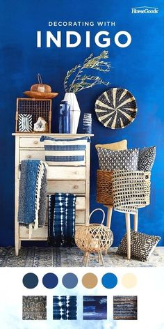 Make a stylish update to your home with indigo. Upholstered pieces, textiles, pillows, and even rugs can be used for an update that will wow. Indigo and white porcelain décor offers a timeless, classi Azul Indigo, Indigo Blue, Room Colors, Colours, Room Inspiration, Home Goods, Home Improvement, Sweet Home, Bedroom Decor