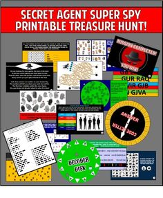 Print out htis fun spy treasure hunt to use at your child& secret agent birthday party. Clues, Codes, Riddles, and MORE! Spy Birthday Parties, Spy Party, Party Games, 15th Birthday, Party Activities, Family Activities, Soirée James Bond, James Bond Party, Scavenger Hunt Birthday