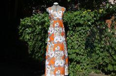 Orange Summer maxi dress by WooWhoVintage on Etsy