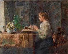 Emma Ekwall 1838-1925   Interiör med handarbetande flicka