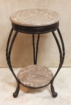 Wrought Iron and Marble 2 Tier Side Table $135