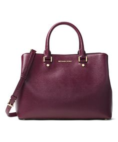 36d10830bd5 Look at this Michael Kors Plum Savannah Large Patent Saffiano Leather  Satchel on #zulily today