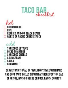 This Is My Sign Up Sheet For A Taco Bar Team Party I Have Used It A
