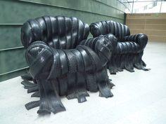 Tire chairs from the KUMU Art Museum in Tallinn, Estonia. http://www.ekm.ee/eng/ekm.php