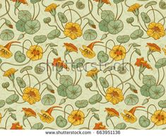 Seamless vector pattern with red and yellow nasturtium flowers and leaves on beige background. Suitable for backgrounds, textile, wrapping paper.