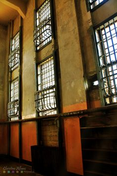 Windows of the Alcatraz prison.