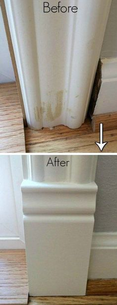 Use plinth block to make a perfect transition between baseboards and door trim.